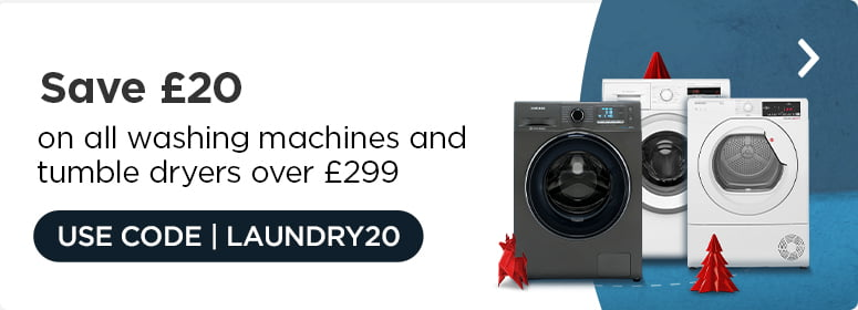 Save £20 on all washing machines and tumble dryers over £299.  USE CODE: LAUNDRY20