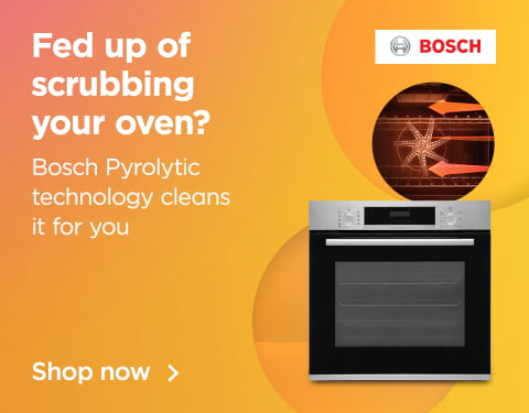 fed up of scrubbing your oven? Bosch pyrolytic technology cleans it for you and get half price installation on ovens over £399