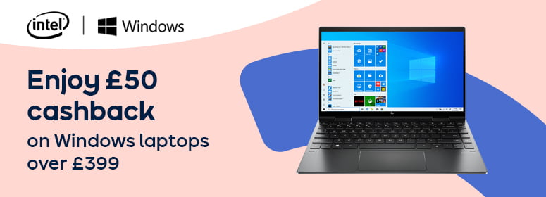 Enjoy £50 cashback on Windows laptops over £399