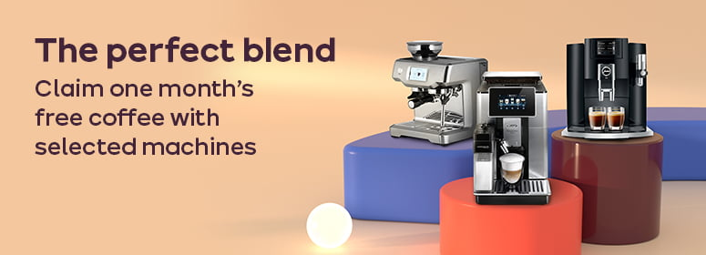 The perfect blend. Claim one months' free coffee with selected machines